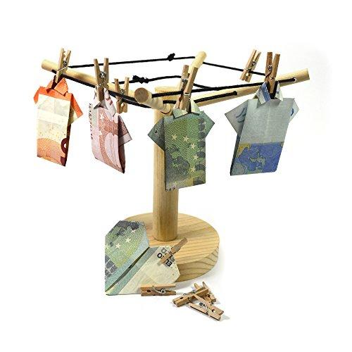 Frau Wundervoll Geldgeschenk Holz Wäschespinne mit 12 Miniklammern aus Holz / Geldwäschespinne aus Holz / Geld- und Fotowäschespinne