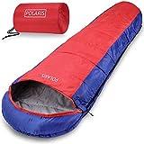 Monzana Schlafsack Polaris Sommerschlafsack -7°C bis 10°C Mumienschlafsack 210x75 cm Deckenschlafsack Rot-Dunkelblau