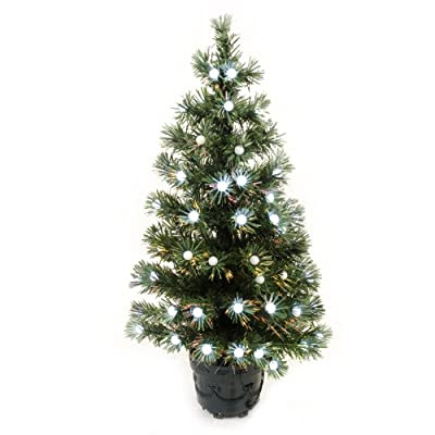 WeRChristmas 3 ft Pre-Lit Fibre Optic Christmas Tree with 92-Frosted Berry Decorations, Green