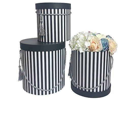 DECORPRO 3er Set Runde Aufbewahrungsboxen mit Deckel, Gestreift in Schwarz, mit Kordel und Quaste, Hutschachtel, Dekobox mit Streifen, Runde Blumenbox (Runde Aufbewahrungsboxen)