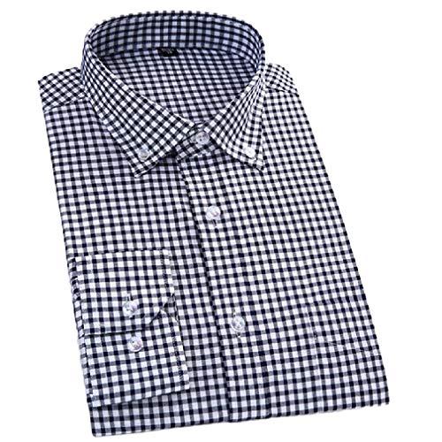 CuteRose Mens Premium Dress Business Plaid Stripes T-Shirts AS8 L Blue Stripe Bow Tie