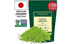 VAHDAM, polvere di tè verde Matcha (200gm 100 tazze), polvere di matcha giapponese pura e non certificata certificata al 100%, | 137x Anti-OSSIDANTI | Aumenta l'energia