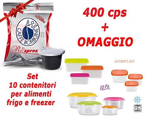 400 capsule Caffe Borbone Respresso compatibili Lavazza Nespresso - Miscela Rossa + Set 10 contenitori da frigo/freezer