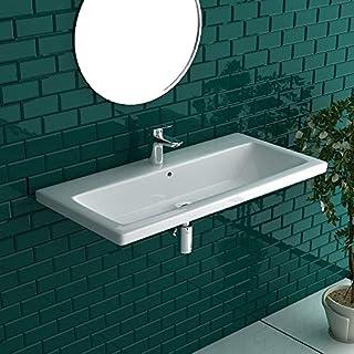 White Ceramic Bathroom Sink with Overflow Sink Bathroom Ceramic Basin Sink/Wash Basin/90cm