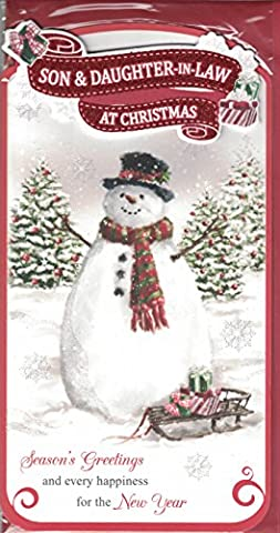 Son And Daughter-in-Law Christmas Card ~ Son & Daughter-in-Law At Christmas Season's Greetings ~ Traditional Snowman &