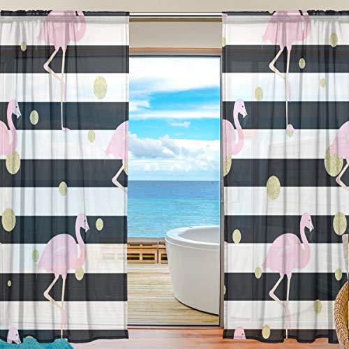 TIZORAX Vorhang mit Flamingos und goldfarbenen Punkten, durchsichtig, aus Polyleinen-Voile, Gardinenstange für Wohnzimmer, Schlafzimmer, 139,7 x 19,8 cm, 2 Paneele, Polyester, Multi, 55