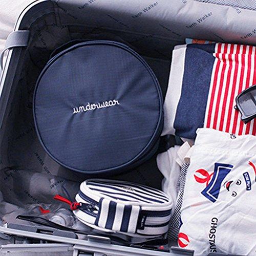 Yiuswoy Wasserdichte Unterwäsche Reisetasche Unterwäsche Organizer Reise Bra Taschen Mit Griff ,Rund Reise Kulturbeutel Aufbewahrungstasche - Dunkelblau
