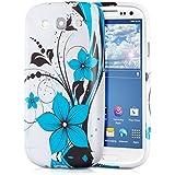 kwmobile Hülle TPU Silikon Case für Samsung Galaxy S3 / S3 Neo mit Blumenmuster Design - Handy Cover Schutzhülle in Blau Schwarz Weiß