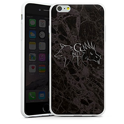 Apple iPhone 6 Silikon Hülle Case Schutzhülle GOT Game of Thrones Drache Wolf Silikon Case weiß
