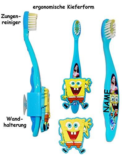 ergonomische Zahnbürste -  Spongebob  - mit Zahnbürstenhalter / Halter Saugnapf - incl. Name - Kinder & Baby / hochwertige Borsten - Kinderzahnbürste & Baby..