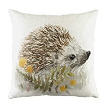 Evans Litchfield Woodland Hedgehog-Federa per Cuscino, Bianco, 43 x 43 cm