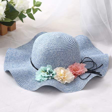 Bonnie Blue Stoffen (GUOMAOUP Hut Wellenförmige Kante Frauen Weichen Hut Faltbare Sonne Bonnie Frau Breitkrempigen Hut Panamahut Weibliche Blume Sommer Sonnenhut Blau)