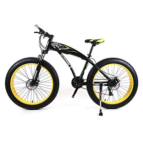Herren Mountainbike 7/21/24/27 Geschwindigkeiten, 26 Zoll Fat Tire Rennrad Snow Bike Pedale mit Scheibenbremsen und Federgabel,BlackYellow,27Speed