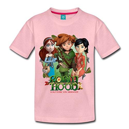 Spreadshirt Robin Hood Marian Und Scarlett Gruppenbild Kinder Premium T-Shirt, 98/104 (2 Jahre), Hellrosa