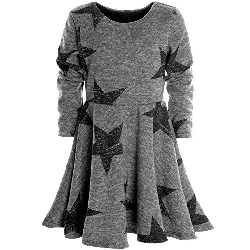 (BEZLIT Mädchen Kinder Spitze Winter Kleid Peticoat Fest Kleider Lang Arm Kostüm 20678 Grau Größe 116)
