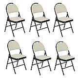 Set di 6sedie pieghevoli Fanilife metallo pieghevole sedie con seduta in tessuto retro ufficio reception sedie pieghevole da tavolo da cucina Grey immagine