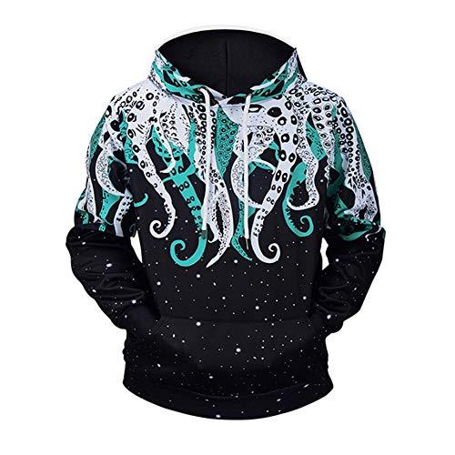 ZJSWCP Sweat-Shirt Hommes 3D Pulls Molletonnés Pull Automne Hiver À Capuche Casual Streetwear À Capuche Goth Survêtements Lâche Hip Pop Octopus À Capuche,XXXL