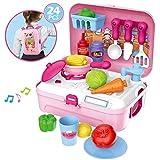 BOWA Rollenspiel Küche Rucksack Spielzeug Kinder Kochen Lebensmittel Spielset für Kleinkind Mädchen 3 Jahre alt, Rosa