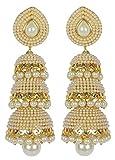 Zeneme Golden Pearl Jhumka/Jhumki Earrin...