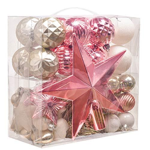 Victor's workshop 50 pezzi 30-100mm oro e rosa e bianco palline di natale palle di natale decorazione albero decorazioni natalizia in plastica per albero di natale decorazione (oro & rosa & bianco)