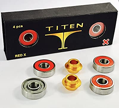 Titen Red X Stunt-Scooter Bearing Set Abec 9 Kugellager 4x608 2rs (8x22x7) + 2 x Spacer + Fantic26 Sticker