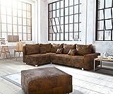 DELIFE Couch Panama Braun Ottomane Links mit Hocker Ecksofa Modular