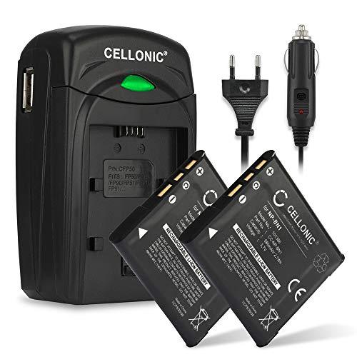 Cellonic 2X Akku kompatibel mit Sony DSC-W830 -W810 -W800 -W730 -W570 -W530 -W350 DSC-WX220 DSC-QX10 -QX30 -QX100 DSC-TX30 580mAh Ersatzakku NP-BN1 Ladegerät BC-CSN BC-TRN KFZ Ladekabel Auto Batterie