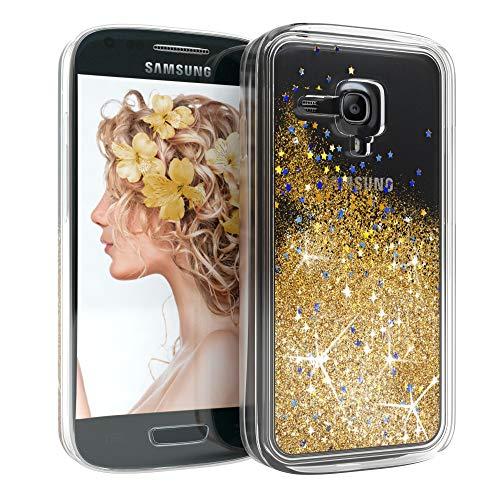 EAZY CASE Hülle für Samsung Galaxy S3 Mini Schutzhülle mit Flüssig-Glitzer, Handyhülle, Schutzhülle, Back Cover mit Glitter Flüssigkeit, aus TPU/Silikon, Transparent/Durchsichtig, Gold