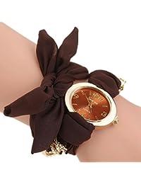 Deep Brown : ALCYONEUS Casual Sweet Bow Cloth Strap Round Dial Quartz Bracelet Wrist Watch For Woman