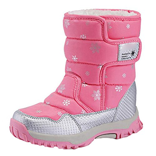 Kinder Schneestiefel - Jungen Mädchen Winter Fell gefütterte Stiefel - Wasserdichte warme Schuhe - Juleya - Winter Rosa Stiefel Fell