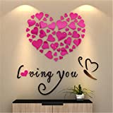 Clearance ☀ Bluester Wall Stickers, Love Heart DIY Removable Vinyl Decal Art Mural Home Decor (Pink)