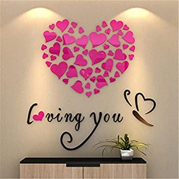 clearance bluester wall stickers love heart diy removable vinyl decal art mural home decor pink