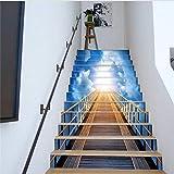 HHKX100822 Treppen Aufkleber DIY wasserdichte 3D Effekt Abnehmbare PVC Wandtattoos Himmel Holz Brücke Kunst Landschaft Treppenhaus Home Fashion 13 Teile/Satz