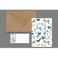 Grußkarte + Briefumschlag + Adressaufkleber / Vögelchen