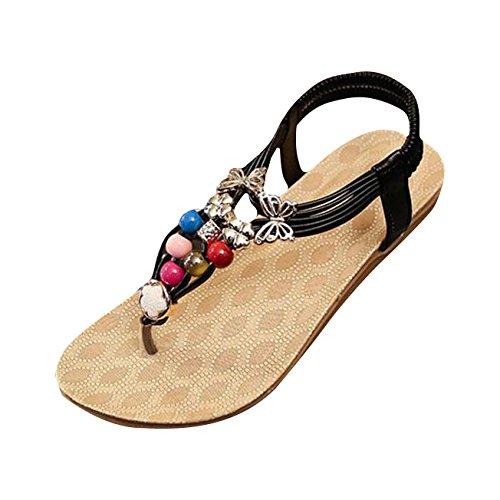 Sandales femmes Plage, Yogogo Summer Bohemia douces perles Sandales clip Toe Flip Flop Chaussures