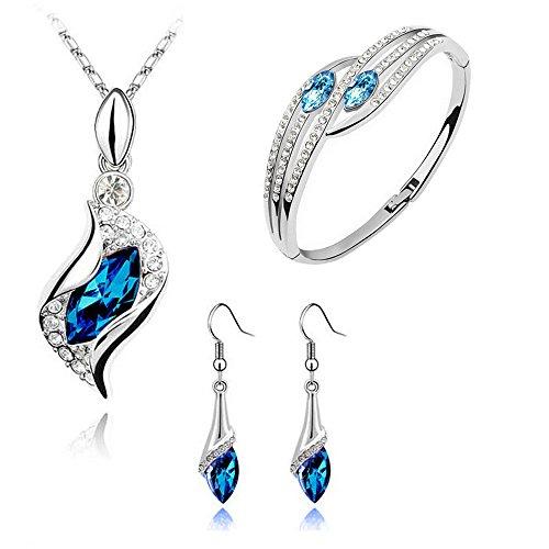 SoundJA Ohrring + Anhänger + Armband - Halskette Ohrstecker Armband Schmuck Set Kristall Diamant Wie Augen Ohrgehänger DIY Ohrhänger Einfach Elegant Nicht Allergisch (Blau)