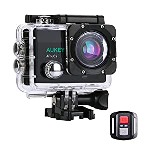AUKEY Action Camera 4K Ultra HD WiFi 2.4GHz Remote, Waterproof Sport Camara with 2 Rechargeable Batteries and other 19 Accessories, 170° Wide-Angle Lens for Bicycle Ski Diving