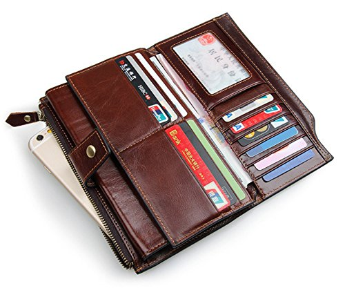 SAIERLONG WL Neues Herrengeldbörsen Damen Clutch Unterarmtasche Geldbörse Geldbeutel Geldtasche Handgelenktasche Portemonnaie Herren (Kaffee) Kaffee