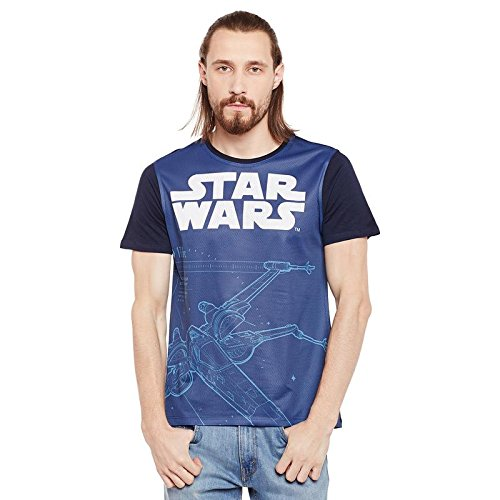 Star Wars Blue Cotton Polyester T-shirt For Men STWR0077_S
