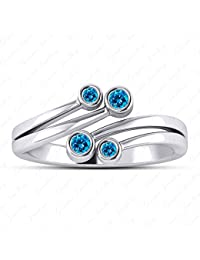 Gemstar Jewellery 14k Yellow Gold Plated Pure 925 Silver Round Blue Topaz Womens Stud Solitaire Earrings
