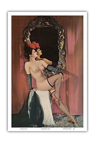 Pacifica Island Art Variete Schönheit - _Revuegirl_ mit Strümpfen - Vintage Retro Ackt-Pin-Up Kalender Seite c.1944 - Kunstdruck - 31cm x 46cm (Vintage Pin-up-kalender)