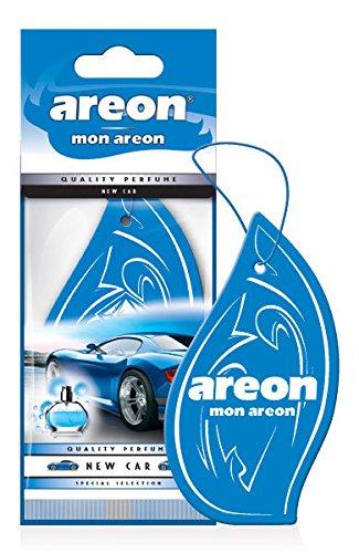 Areon Mon Ambientador Coche Olor Nuevo New Car Colgante Colgar Perfume Original Azul Cartón Retrovisor Casa Oficina 2D ( Pack de 1 )