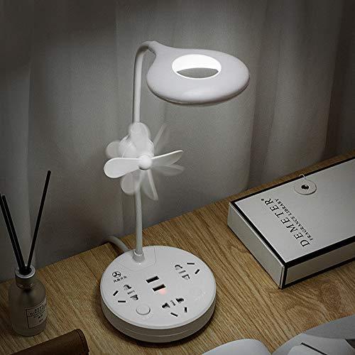 Kreative Smart Fan Sockel LED Schreibtischlampe mit USB Plug-In Touch Fan Eye Lampe Student Wiring Board Reihe Plug-In Tischlampe + Fan Sockel Abschnitt 4,8 Meter Linie Wiring Board
