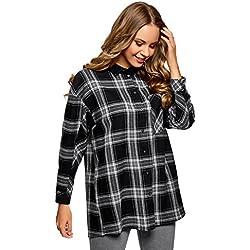 oodji Ultra Mujer Camisa Ancha a Cuadros, Negro, ES 42 / L