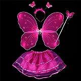 ESHOO Enfants Filles Costume de Fête Fée Papillon Ailes Baguette Bandeau Jupe 4Pcs Ensemble