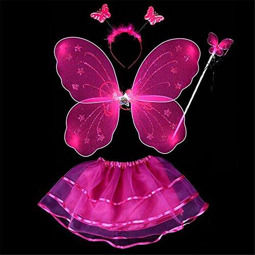 Lila Schmetterling Dress Fancy Kostüme (ESHOO Kinder Mädchen Partei Kostüm Fee Schmetterling Flügel Wand Stirnband Rock 4Pcs /)