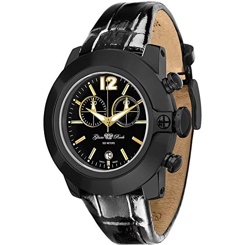 Glam Rock Unisex Sobe 44mm Black Leather Band IP Steel Case Swiss Quartz Analog Watch GR32176S