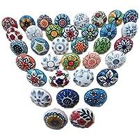 20 tiradores vintage de cerámica con distintos diseños de flores, ideales para puertas, armarios, cajones y cómodas