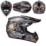 QYWSJ DH-Helm-Set FüR Motocross, Mit Brille, Handschuhe, Maske, Full Face Off Road Downhill Dirt...