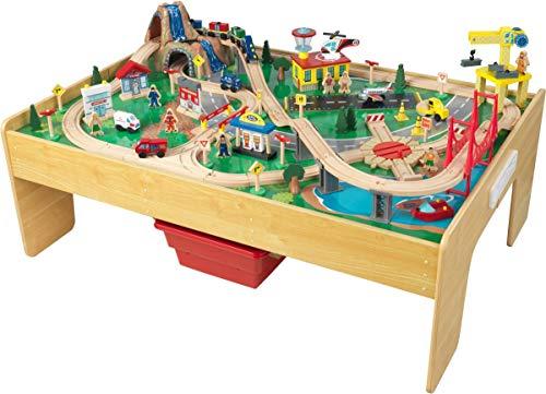 KidKraft 18025 Adventure Town Eisenbahnspielset & Tisch mit EZ Kraft Assembly Bahngleis-Set und Tisch aus Holz, Natürlich